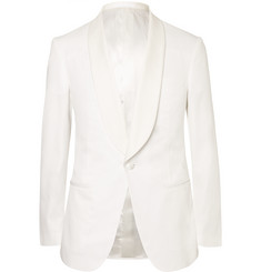 Kingsman - White Harry Slim-Fit Faille-Trimmed Cotton Tuxedo Jacket