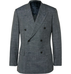 Kingsman Grey Harry Slim-Fit Checked Wool, Silk and Linen-Blend Suit Jacket