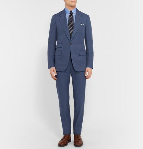 Kingsman Blue Eggsy Slim-fit Cotton Suit Trousers