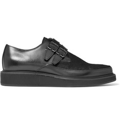 Lanvin Buckled Calf Hair-Panelled Leather Derby Shoes