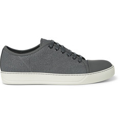 Lanvin Cap-Toe Textured-Leather Sneakers