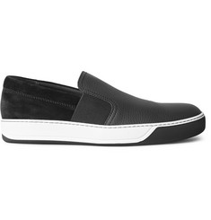 Lanvin Grained-Leather and Suede Slip-On Sneakers