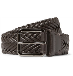 Ermenegildo Zegna - 3cm Brown Woven Leather Belt