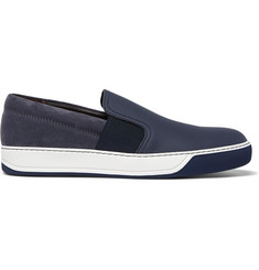 Lanvin Leather, Suede and Rubber Slip-On Sneakers