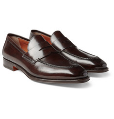 Santoni - Polished-Leather Penny Loafers