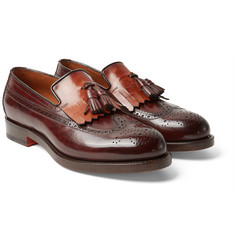 Santoni - Tasselled Two-Tone Leather Kiltie Loafers