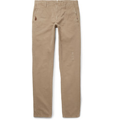 Incotex Slim-Fit Distressed Cotton-Twill Trousers
