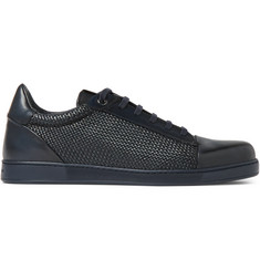 Ermenegildo Zegna Pelle Tessuta Leather Sneakers