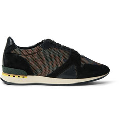Burberry Suede And Leather-Trimmed Camouflage-Print Mesh Sneakers
