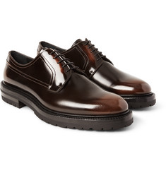 Burberry - Edgeware Lug-Soled Glossed-Leather Derby Shoes