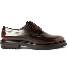 Burberry Lug-Soled Polished-Leather Derby Shoes