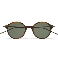 Thom Browne Round-Frame Tortoiseshell Acetate and Pewter-Tone Sunglasses