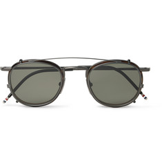Thom Browne Round-Frame Tortoiseshell Acetate Optical Glasses With Clip-On UV Lenses