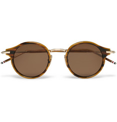 Thom Browne Round-Frame Tortoiseshell Acetate and Gold-Tone Sunglasses
