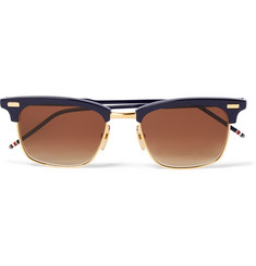 Thom Browne D-Frame Acetate and Gold-Tone Sunglasses