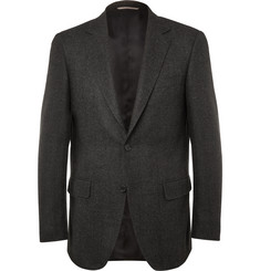 Canali Charcoal Slim-Fit Herringbone Wool and Cashmere-Blend Blazer