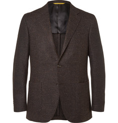 Canali Brown Kei Slim-Fit Wool-Blend Tweed Blazer