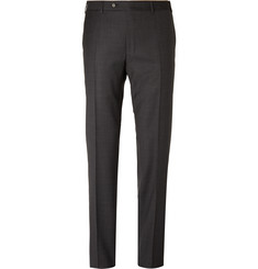 Canali Charcoal Sienna Slim-Fit Checked Super 130s Wool Suit Trousers