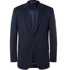 Canali Navy Valencia Slim-Fit Stretch-Wool Travel Suit Jacket