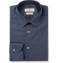Canali Navy Stretch Cotton-Blend Shirt