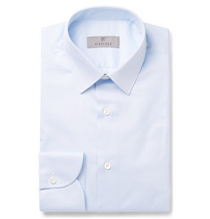 Canali Blue Slim-Fit Pinstriped Cotton-Poplin Shirt