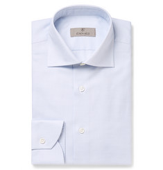 Canali Blue Slim-Fit Cutaway-Collar Cotton Shirt