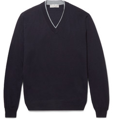Canali Contrast-Tipped Merino Wool Sweater