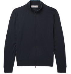 Canali Mélange Wool Zip-Up Sweater