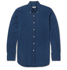Canali Slim-Fit Button-Down Collar Printed Cotton Shirt