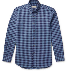 Canali Button-Down Collar Gingham Cotton-Flannel Shirt