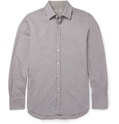 Canali Slim-Fit Gingham-Trimmed Cotton-Twill Shirt