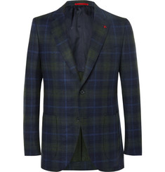 Isaia Slim-Fit Checked Wool and Cashmere-Blend Blazer