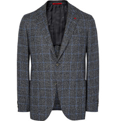 Isaia - Grey Slim-Fit Checked Tweed Blazer