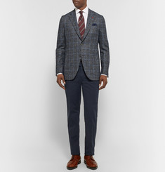 Isaia Grey Slim-Fit Checked Tweed Blazer