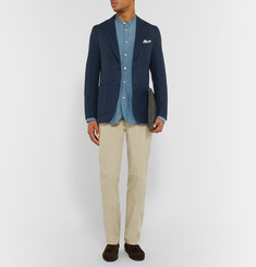 Isaia - Navy Slim-Fit Herringbone Wool and Cashmere-Blend Blazer