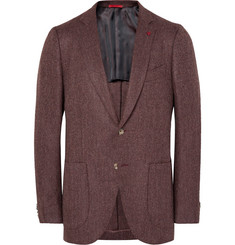 Isaia - Burgundy Slim-Fit Herringbone Wool and Cashmere-Blend Blazer
