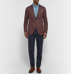 Isaia Burgundy Slim-Fit Herringbone Wool and Cashmere-Blend Blazer