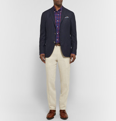 Isaia Slim-Fit Button-Down Collar Checked Cotton Shirt