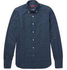 Isaia - Slim-Fit Herringbone Cotton Shirt