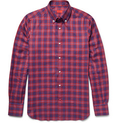Isaia - Slim-Fit Button-Down Collar Checked Cotton Shirt