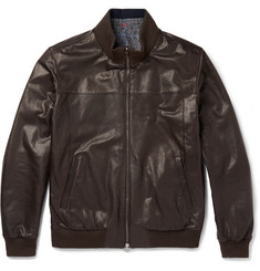Isaia Reversible Leather Bomber Jacket