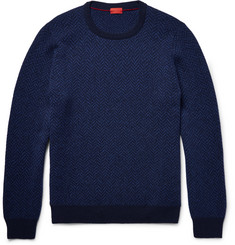 Isaia Elbow-Patch Herringbone Wool Sweater