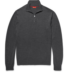 Isaia Elbow-Patch Merino Wool Half-Zip Sweater