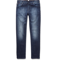 Isaia Slim-Fit Washed Stretch-Denim Jeans