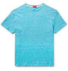 Isaia - Space-Dyed Knitted Linen and Cotton-Blend T-Shirt