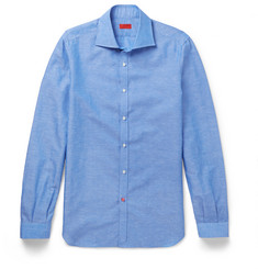 Isaia Slim-Fit Spread Collar Slub Cotton and Linen-Blend Shirt