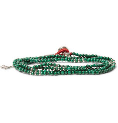Isaia Saracino Malachite and Silver Bead Wrap Bracelet
