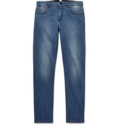 Isaia Slim-Fit Washed Selvedge Stretch-Denim Jeans