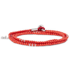 Isaia Saracino Red Coral and Silver Bead Wrap Bracelet