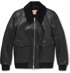 Burberry Brit Shearling-Trimmed Textured-Leather Jacket